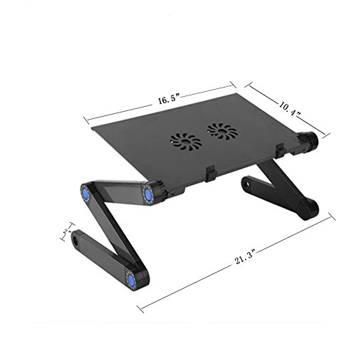JiFengCheng Portable Laptop Stand for Bed Aluminum Adjustable Laptop Stand for Desk Table Vented CPU Fans Mouse Pad Side Ergonomic Laptop Stand by JiFengCheng (Image #6)