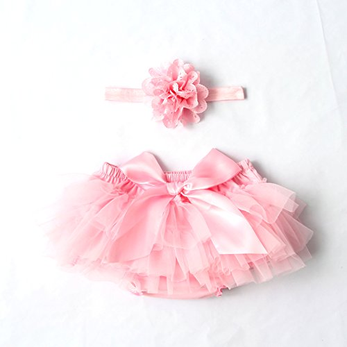 Ruffle Bloomers (Luyun Infant and Toddlers Girls Cotton Tulle Ruffle with Bow Baby Bloomer Diaper Cover and Headband Set)