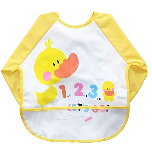 (Momloves Cute Cartoon Unisex Infant Toddler Baby Waterproof Sleeved Bib, Baby Toddler Smock (6-24 Months) (Yellow-duck))