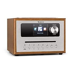 auna Silver Star CD Cube Radio - Radio con WiFi y Reproductor de CD , Microcadena , Radio FM , Bluetooth , 10 W , Pantalla HCC de 2,8