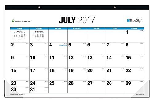 "Blue Sky 2017-2018 Academic Year Monthly Desk Pad Calendar, 17"" x 11"", Classic"
