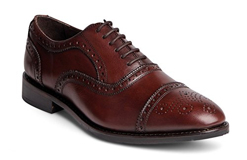 (Anthony Veer Men's Ford Wingtip Brogue Lace-up Full Grain Leather Dress Formal Wedding Office Shoes Goodyear Welt (8.5 D(M) US, Chocolate Brown Full Grain Calfskin Leather Sole))