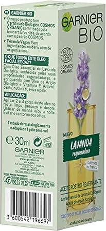 Garnier BIO Aceite Rostro Reafirmante con Aceite Esencial Lavanda y de Argán Ecológicos y Vitamina E - 30 ml (BIO)