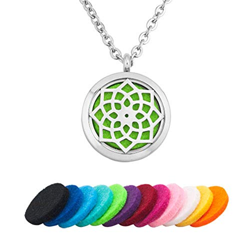 Moonlight Collection Flower of Life Chakra Spiritual Calming Pendant Chain Essential Oil Diffuser Necklace Aromatherapy ()