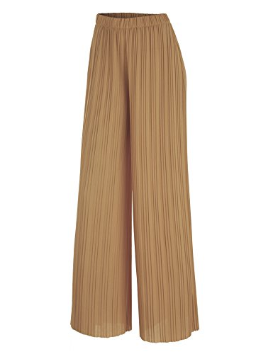 Pleated Womens Pant (WB1794 Womens Pleated Wide Leg Pants with Elastic Waist Band-Made in USA S Desert)