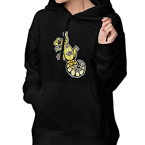 Suining Yellow Leopard Gecko Womens Fashion Hooded Sweatshirt Long Sleeve Pullover Drawstring Sports Coat with ()