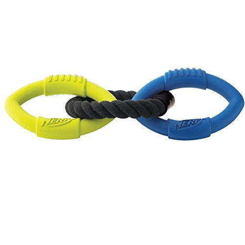 Nerf Dog Medium to Large 3-Ring Tug Interactive 9-Inch Rubber Dog (Skinneeez Rope)