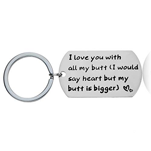 YEEQIN Funny Gifts for Boyfriend Husband Personalized Dog Tag Pendant Necklace Naughty Words Keychain Gift for Men (Love You with All My Butt Keychain) (I Love My Dog Keychain)