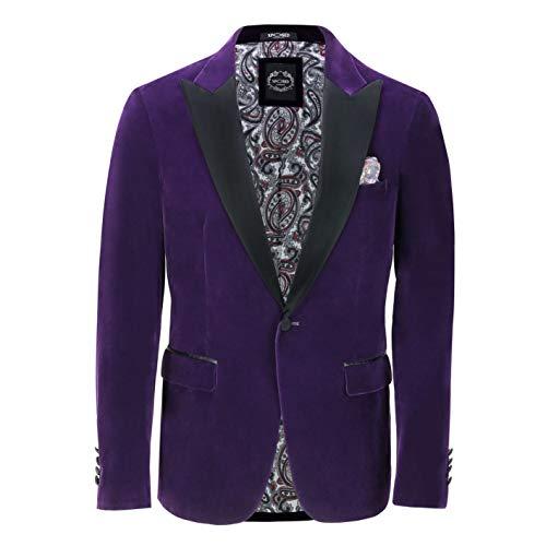 Satin Trim Tuxedo Trousers - Xposed Mens Velvet Tuxedo Dinner Jacket Retro Smoking Coat Formal Tailored Fit Blazer[BLZ-Dinner-Ricky-Purple,Purple,Chest UK 46 EU 56]