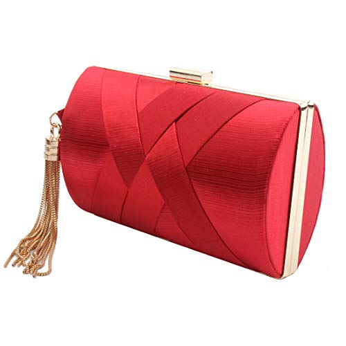 Women's Elegant Tassel Pendant Silk Evening Bag Clutch Purse for Bride Wedding Prom Night Out Party (RED) ()