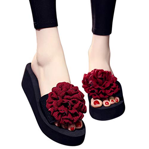 TnaIolral Ladies Summer Sandals Flowers Bohemian Style Slippers Beach Shoes (US:6.5, Wine)