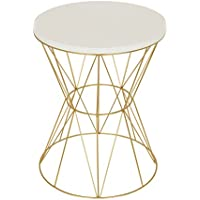 Kate and Laurel Mendel Round Metal End Table with Cage Metal Frame, White Top with Gold Base