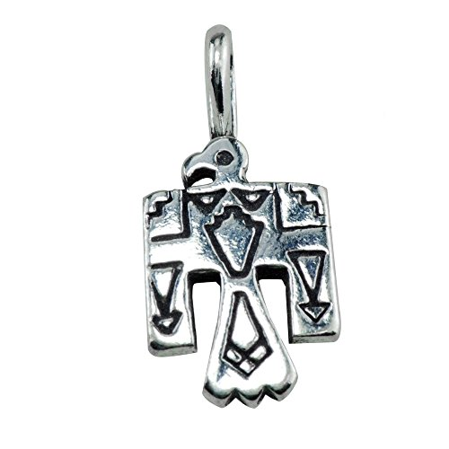 925 Sterling Silver Native American Indian Thunderbird Hawk Eagle Charm Pendant ()