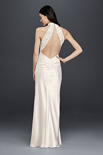 Charmeuse-Sheath-Wedding-Dress-with-Lace-Halter-Style-644796