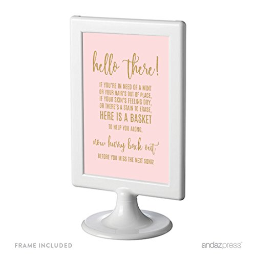 (Andaz Press Blush Pink Gold Glitter Print Wedding Collection, Framed Party Signs, Bathroom Basket Sign, 4x6-inch, 1-Pack, Includes)
