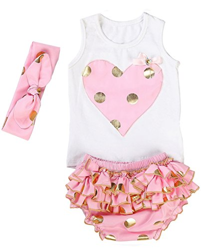 Messy Code Lovely Design Posh Gold Polka Dots Baby Girls Outfits,Medium / - Posh Baby Girl