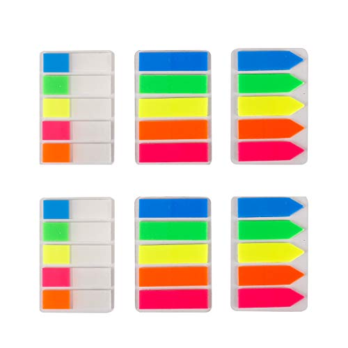 (Lysas 600 pcs Neon Page Markers- Colored Page Index Tabs Flags Dispensers for Pages Mark, Assorted Fluorescent Bright Color Book Markers& Sticky Notes Memo, Great for Highlight Key Points, 6)