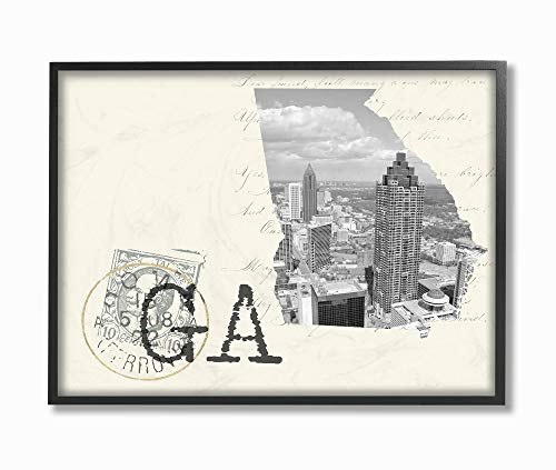 The Stupell Home Decor Georgia Black and White Photograph on Cream Paper Postcard Framed Giclee Texturized Art, 11 x 14, ()