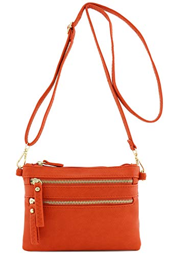Multi Zipper Pocket Small Wristlet Crossbody Bag (Burnt Orange) ()