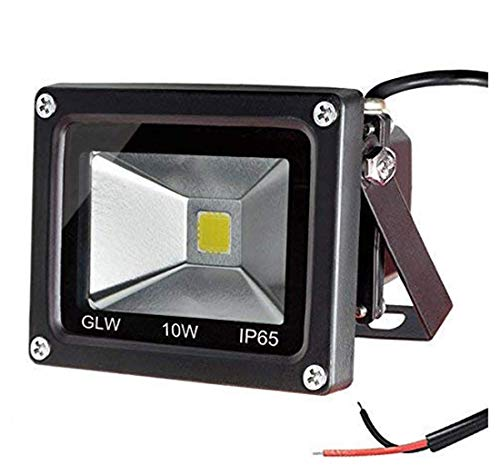 (GLW 10w 12v Ac or Dc Warm White Led Flood Light Waterproof Outdoor Lights 750lm 80w Halogen Bulb Equivalent Black Case)