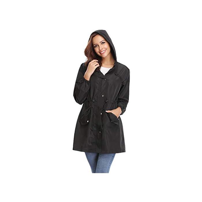 41EM5%2BAh55L Multifunción Cortavientos de mujer:Anorak Mujer,característica con material impermeable y secado rápido, Puede ser resistente al viento, a la lluvia y a la nieve, cálido y hermético,también proporciona protección solar.Más es Transpirable, Skin-touch, Cómodo y cálido. Abrigo Impermeable para mujer :Es una chaqueta fina y muy impermeable, es ajustable a la cintura lo que hace que quede se ajuste al cuerpo todo lo que se quiera.Chubasquero Deporte Encapuchado Dobladillo de la gabardina está ajustado para mantenerlo caliente y resistente al viento. 100% Poliéster