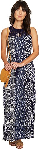 Boho-Chic Vacation & Fall Looks - Standard & Plus Size Styless - Lucky Brand Women's Macrame Yoke Dress, Blue Print, X-Large