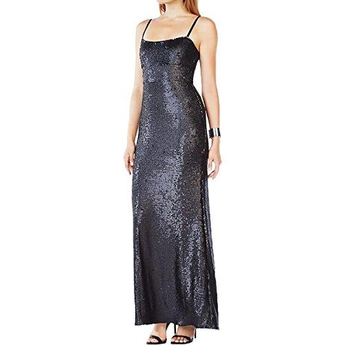BCBG Max Azria Womens Gisselle Sequined Shimmer Evening Dress Black M ()