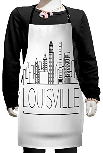 Lunarable Kentucky Kids Apron, Minimalist Buildings of Louisville City Greyscale Typographic Illustration, Boys Girls Apron Bib with Adjustable Ties for Cooking Baking and Painting, Pale Grey Black ()
