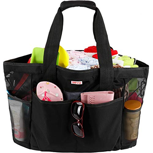 Mesh Beach Bag for Women -Extra Large Beach Tote Bag with 9 Oversized Pockets -Lightweight Market Grocery & Picnic Tote Travel Bag with Top Zipper Black ()