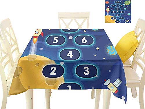 (W Machine Sky Oil-Proof and Leak-Proof Tablecloth Kids Activity Children Activity Hopscotch Game in Space Science Fiction Themed Cartoon W70 xL70 Suitable for Buffet Table, Parties,)