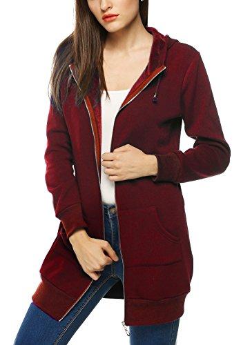 Women's Zipper Hooded Sweatshirt Active Pullover With Kangaroo Pocket,Dark Red,XXL