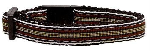 Preppy Stripes Nylon Ribbon Collars Brown/Khaki Cat Safety (24 Pack) [Misc.]