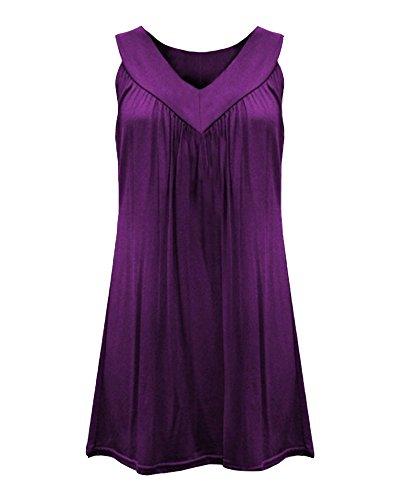 sans Manches Femme Col Tops T Shirts Classique Mousseline Blouse Hauts Violet Lache Chemise V fZxwZ