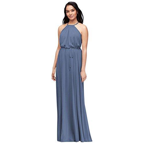 2fe970eac0e David s Bridal Soft Mesh Halter Bridesmaid Dress With Slim Sash Style  F19533