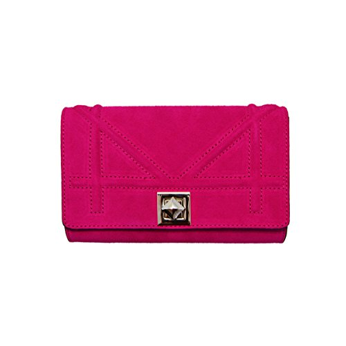 DIONISIA CLUTCH Italian mini crossbody clutch bag, dark nickel chain flap purse, evening bag, crossbody bag, smooth quilted leather (CLUTCH fuchsia) by MYITALIANBAG