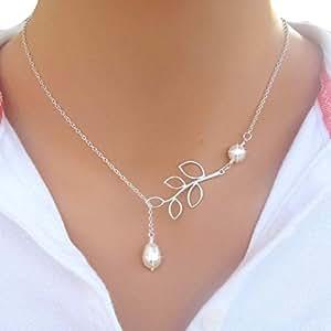 Collar con colgante, de Binmer, con diseño de hojas y perlas, para mujer