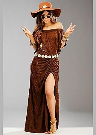 Magic Box Disfraz de Hippie marrón de los años 70 para Mujer con ...