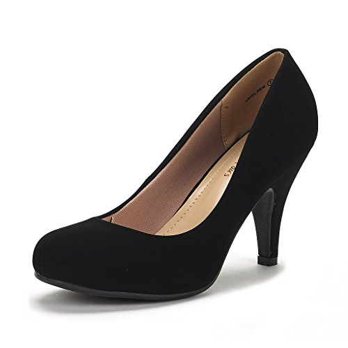 DREAM PAIRS ARPEL Women's Formal Evening Dance Classic Low Heel Pumps Shoes New Black Nubuck Size ()
