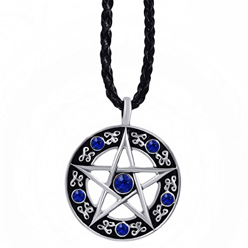 (Naomi Mens Womens Pentacle Pentagram Blue Red Green Purple Black CZs Star Pewter Pendant with 24