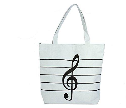 jxy símbolos de música de las mujeres impresión Canvas Shopping Bolsos a correa (blanco)