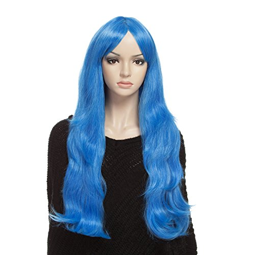 YOPO Wig 30-Inch Long Wavy Synthetic Wig with Wig Cap and Bobby Pins for Women, Blue (Mermaid Wig In Blonde)