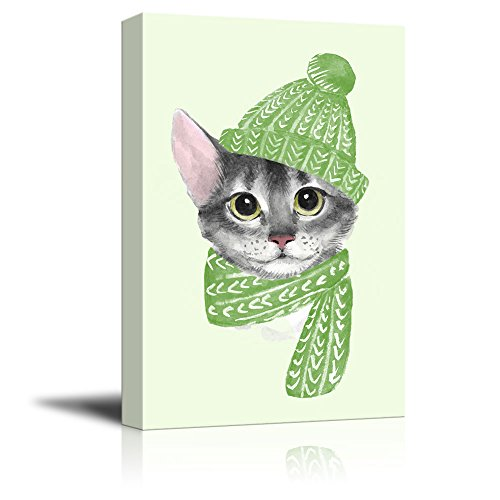 Watercolor Style Cat with a Hat and a Scarf Gallery