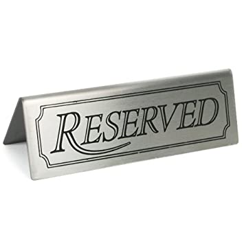 Amazoncom Reserved Sign Set Of Stainless Steel Restaurant - Restaurant table signs