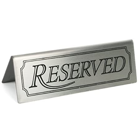 reserved sign set of 5 stainless steel restaurant table signs