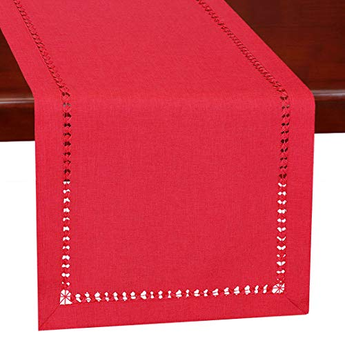 Grelucgo Handmade Hemstitch Christmas Red Rectangle Table Runner Dresser Scarf 14 X 120 Inch]()