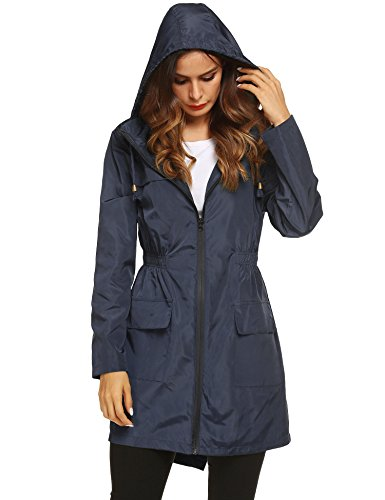 LOMON Womens Lightweight Packable Outdoor Raincoat Windproof Hoodies Trench Rain Jacket Navy Blue ()