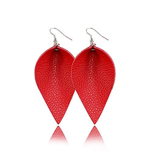 Teardrop Leather Earrings Red Leaf Drop Dangle Earrings for Women - Heart Leather Earrings