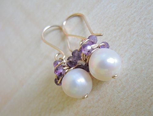 s/ amethyst earrings/ 14 k gold earrings/wire wrapped earrings ()