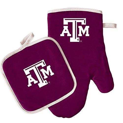 Oven Mitt and Pot Holder Set - Barbeque BBQ Kitchen Backyard Outdoors - NCAA - Texas A&M Aggies (Barbecue A&m Aggies Texas)