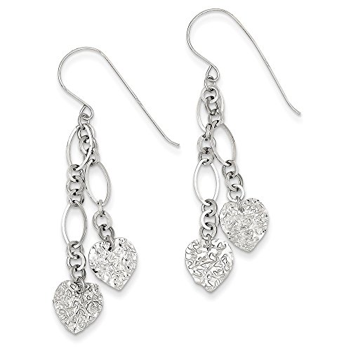 14K White Gold Fancy Chain Links with Hearts Dangle Shephered Hook Earrings (Gold 14k Chain Links Hook)